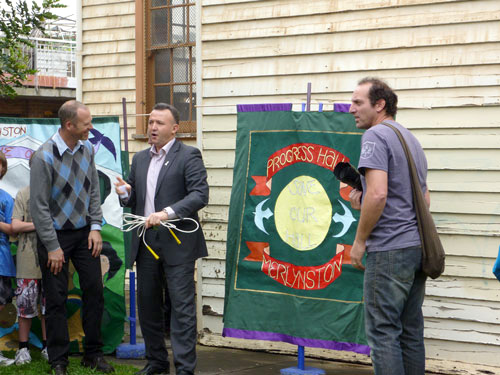 2011 Mayor Oscar Yildiz local residents David and Jerry open the Launch.